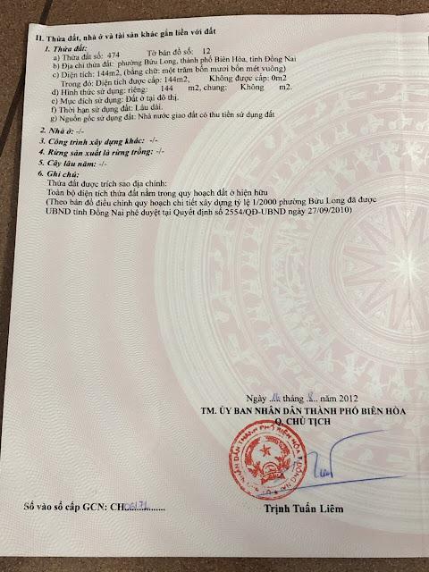 Bán Lô biệt thự CS5 Lạc Hồng Bửu Long TP Biên Hòa 144mv