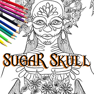 Sugar Skull Girl Printable Coloring Page