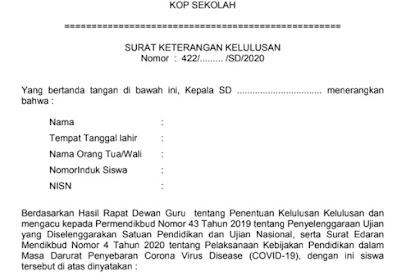 Surat Keterangan Kelulusan SD Tahun 2020 sesuai Persekjen Kemdikbud No 5 Tahun 2020