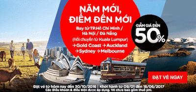 Năm mới đến điểm đến mới Air Asia giảm 50% giá vé