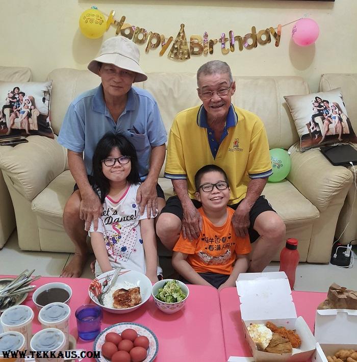 Grandchild celebrate birthday with grandparents