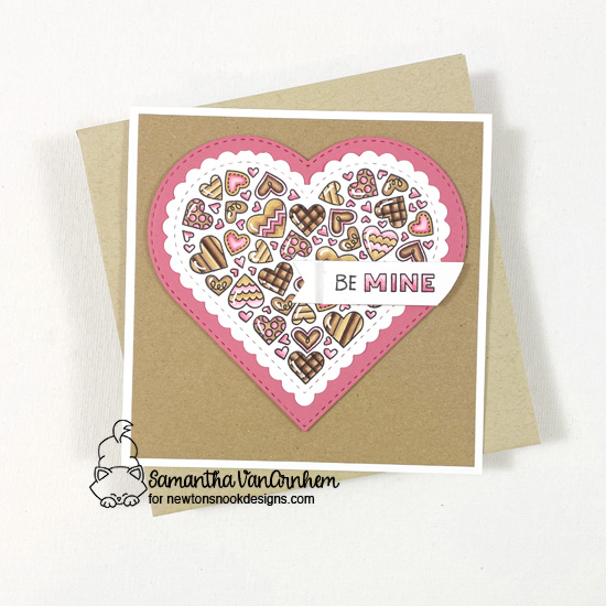 Be Mine Valentine card by Samantha VanArnhem | Heartfelt Love Stamp set, Heart Frames Die Set and Banner Trio Die Set by Newton's Nook Designs