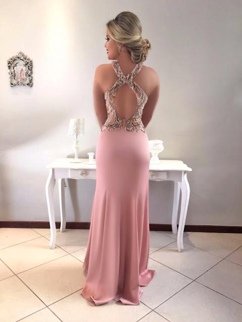 vestido de festa rose