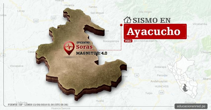 Temblor en Ayacucho de magnitud 4.0 (Hoy Lunes 13 Agosto 2018) Sismo EPICENTRO Soras - Sucre - IGP - www.igp.gob.pe