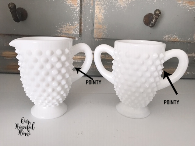 white hobnail milk glass set