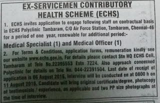 Application invited for Doctors vacancy in ECHS Polyclinic Tambaram Chennai