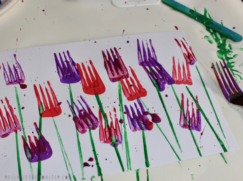 fork painting ideas for kids