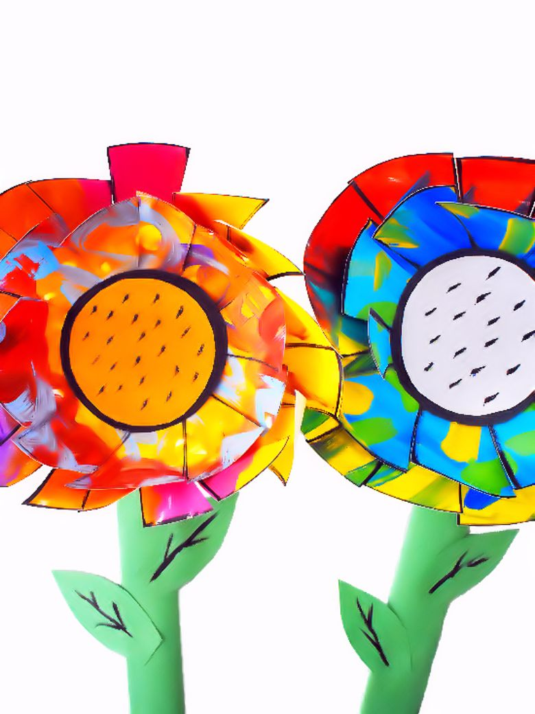 layer painted paper flower craft for kids