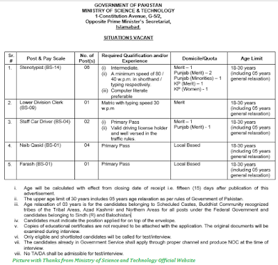 Ministry of Science and Technology Jobs November 2020 Download Application forms for MOST.GOV.PK