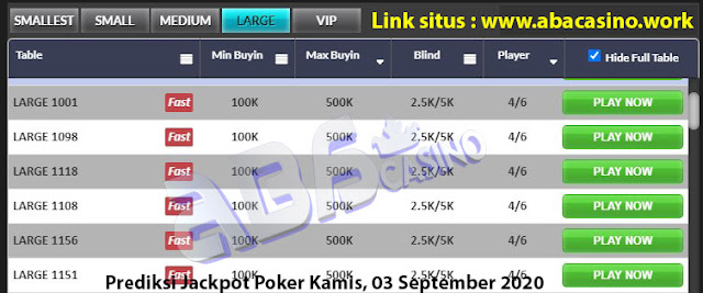 Prediksi bocoran jackpot pokerqq online di meja Large hari ini Kamis, 3 September 2020
