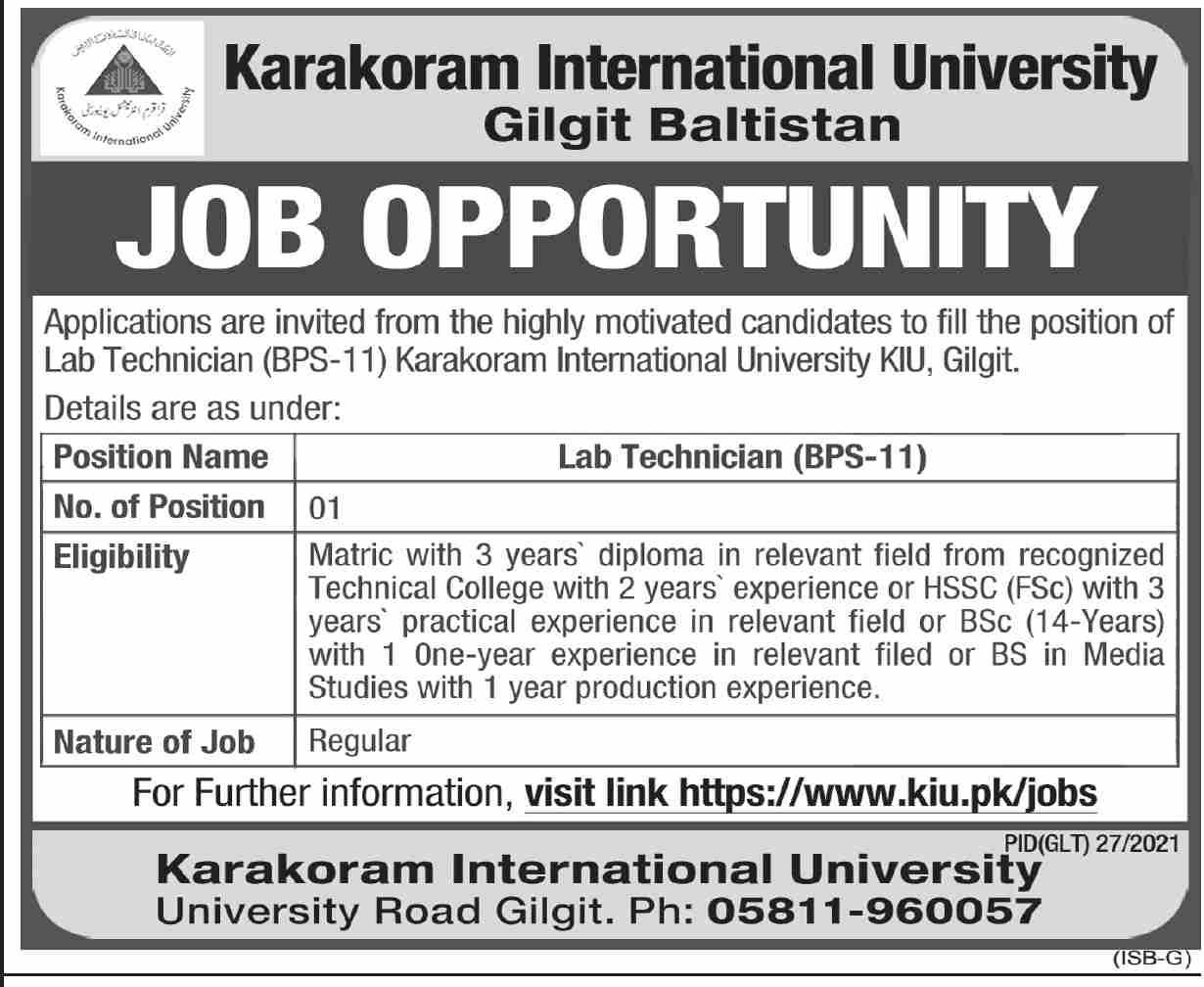 www.kiu.pk Jobs 2021 - Karakoram International University Gilgit Baltistan Jobs 2021 in Pakistan