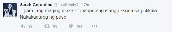 """Sarah Geronimo expresses disappointment over dog killing scene in MMFF movie """"Oro"""""""