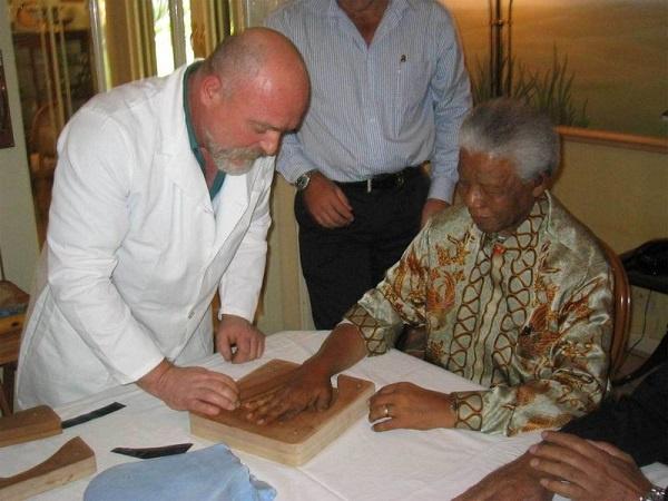 Mandela sitting for the casting