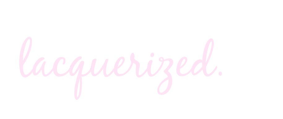 logo of the letters Lacquerized in script type