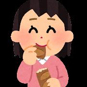 フランスパンをちぎって食べる人のイラスト