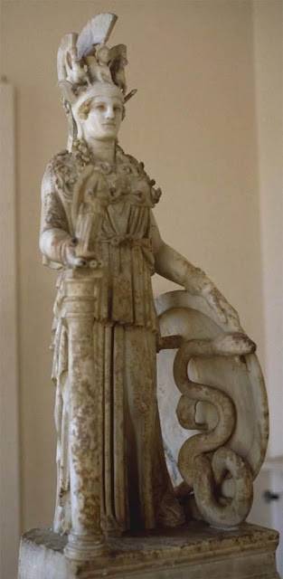 Athena Varvakeion, small Roman replica of the Athena Parthenos by Phidias.  Found in Athens near the Varvakeion school, hence the name.  First half of the 3rd c. AD. National Archaeological Museum in Athens