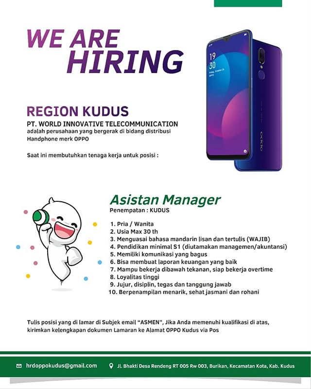 Lowongan Asistan Manager di PT World Innovative Telecommunication (OPPO Camera Phone)