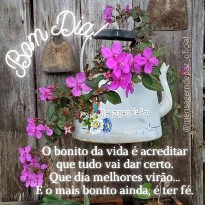 O bonito da vida é acreditar que tudo vai dar certo. Que dia melhores virão... E o mais bonito ainda, é ter fé. Bom Dia!