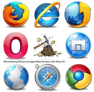 Menambang Bitcoin, litecoin , Doge menggunakan browser dan blog