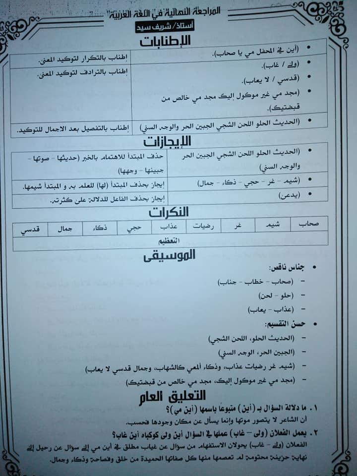 تجميع لمراجعات و امتحانات اللغة العربية للصف الثالث الثانوى  للتدريب و الطباعة 2021 13