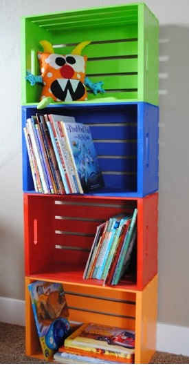 muebles con cajas de madera, como hacer un mueble con cajas de madera, mueble para cuentos, mueble para juguetes