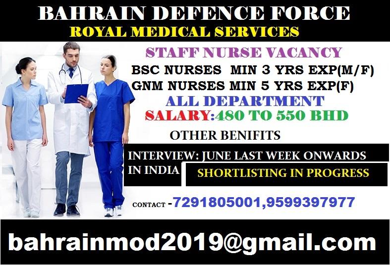 STAFF NURSES VACANCY FOR BAHRAIN DEFENCE FORCE( ROYAL MEDICAL