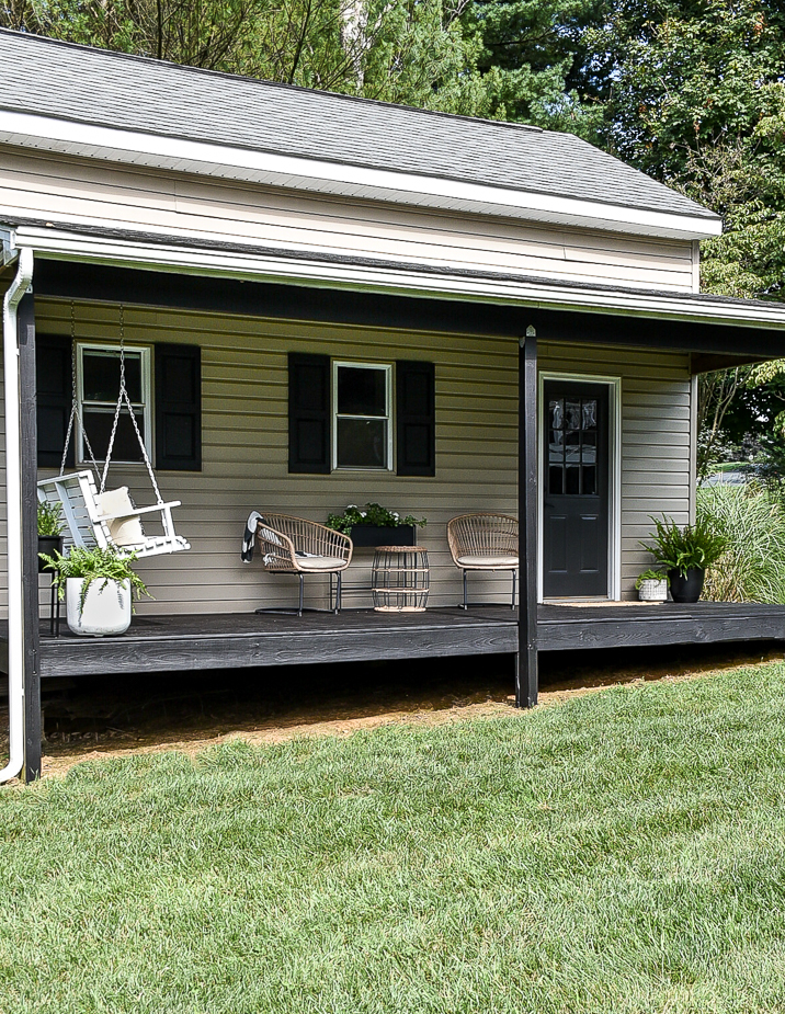 Black stained deck after