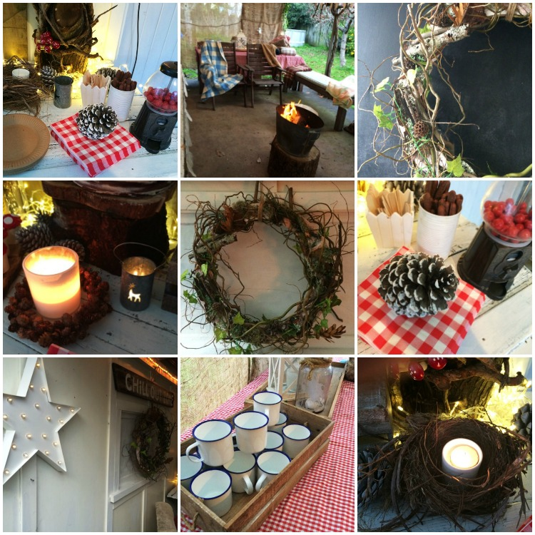 Woodland Party decor - everything rustic, with pops of red