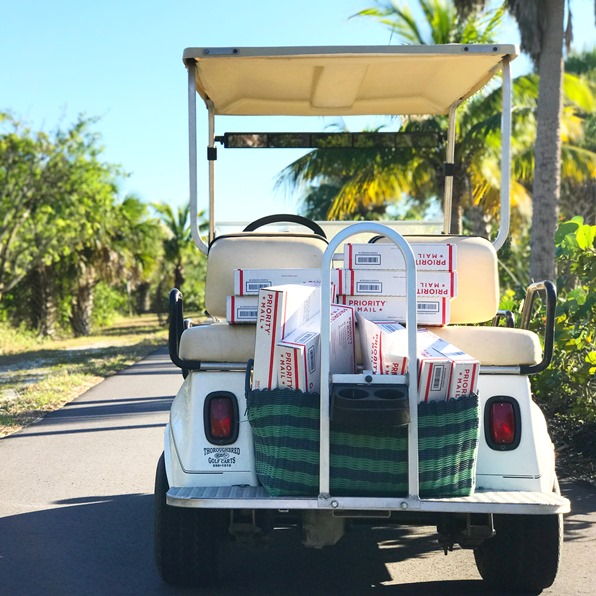 Golf caddy loaded up with parrcels driving into the horizon