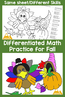 Color by Number Thanksgiving Activity Pages in 13 Varieties