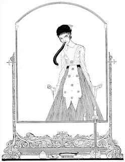 An image from Harry Clarke of a woman with a long, pendulous, wormlike nose, her hands at stiff angles, reflected in a mirror.