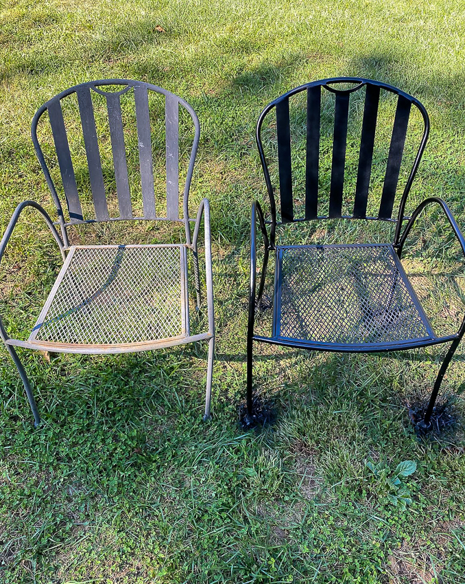 Before and after update Iron patio chairs