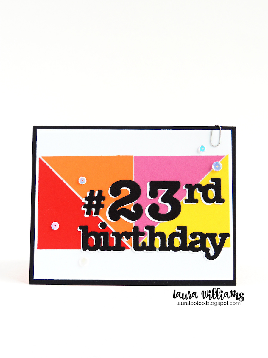 Make a clean and simple birthday card for any age with number and word dies from Impression Obsession and simple cut paper triangles. Visit my blog to see just how to put this card together, plus lots more ideas!