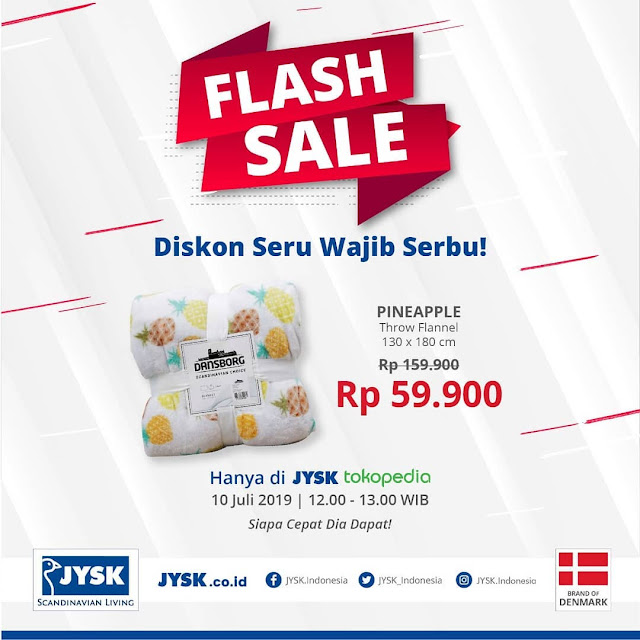 #JYSK - #Promo Flash Sale Throw Flannel PineAple Hanya 59K di Official Tokopedia (10 Juli 2019)