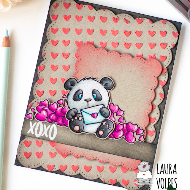 Prismacolor and Distress Oxides on Toned Gray Paper - Valentine's Day Card