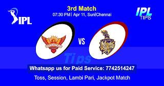 IPL T20 Hyderabad vs Kolkatta 3rd Match Who will win Today? Cricfrog