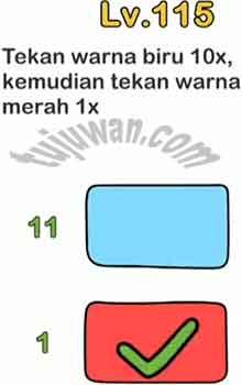Ini Kunci Jawaban Brain Out Tekan Warna Biru 10x Kemudian Tekan Warna Merah 1x level 115