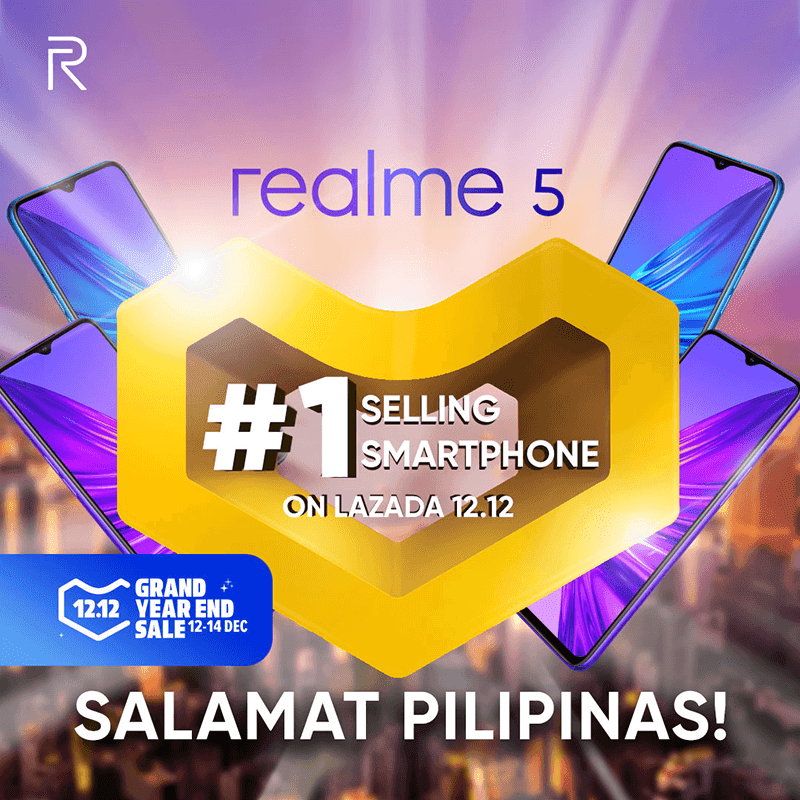 Realme 5 is the best selling smartphone in Lazada 12.12 2019