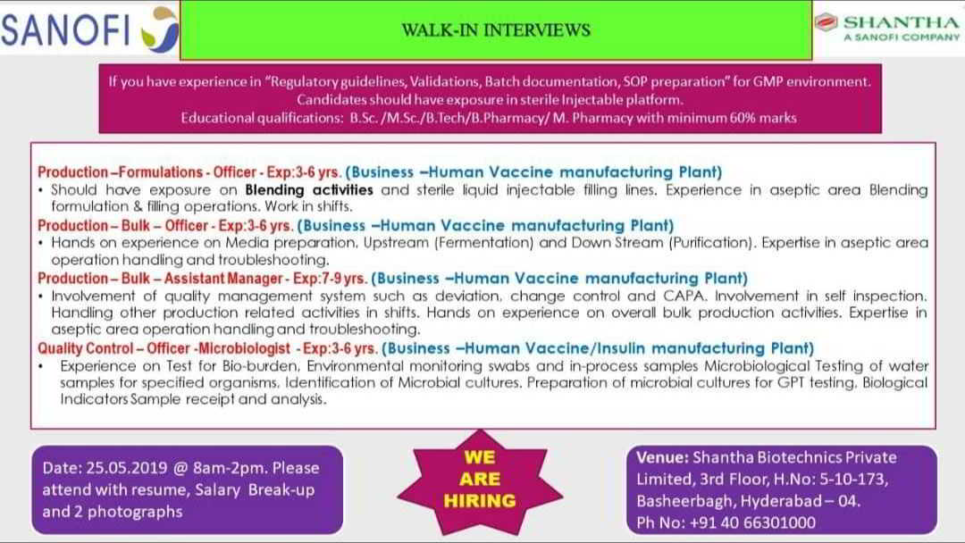Pharmajobs: Sanofi Walk in Interviews- Production/ Quality