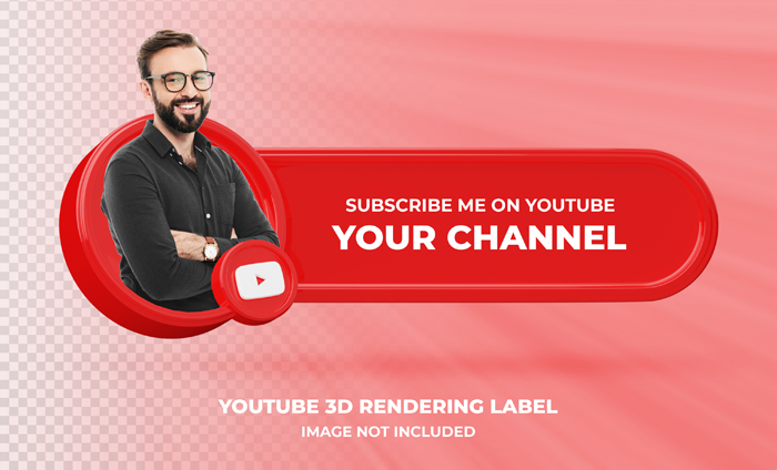 Banner Icon Profile Youtube 3D Rendering Label Isolated