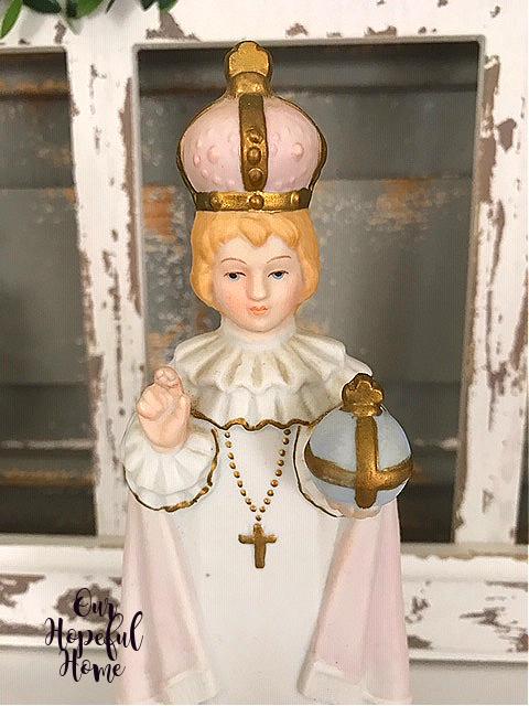 vintage Infant Jesus of Prague figurine crown crucifix globe