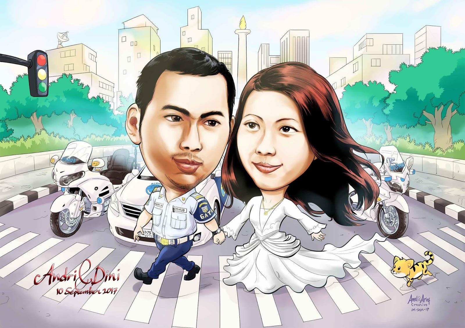 Amel Arief Creative Karikatur Pernikahan Anak Dishub