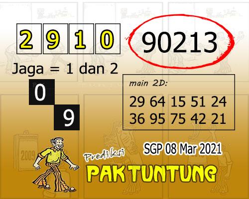 Syair SGP Senin 08 Maret 2021 -