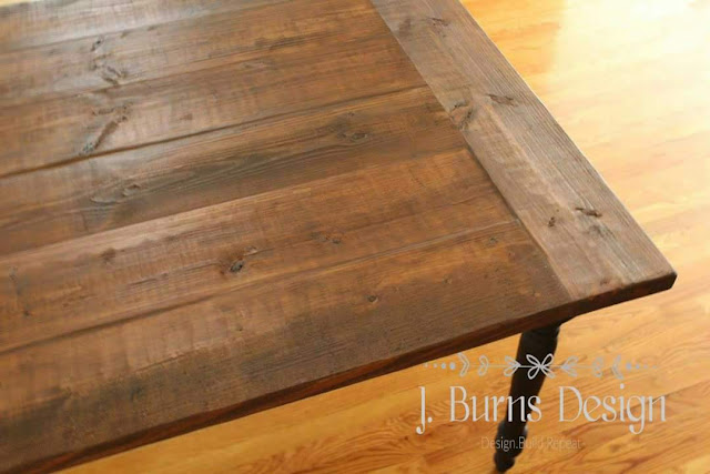 heart pine table completed with salvaged wood faux finish