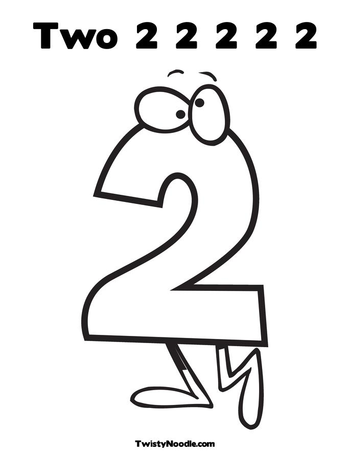 Number Two 2 Coloring Pages on Popup Printable