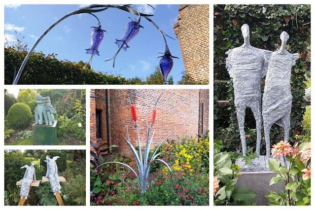 Chenies Manor garden sculpture collage