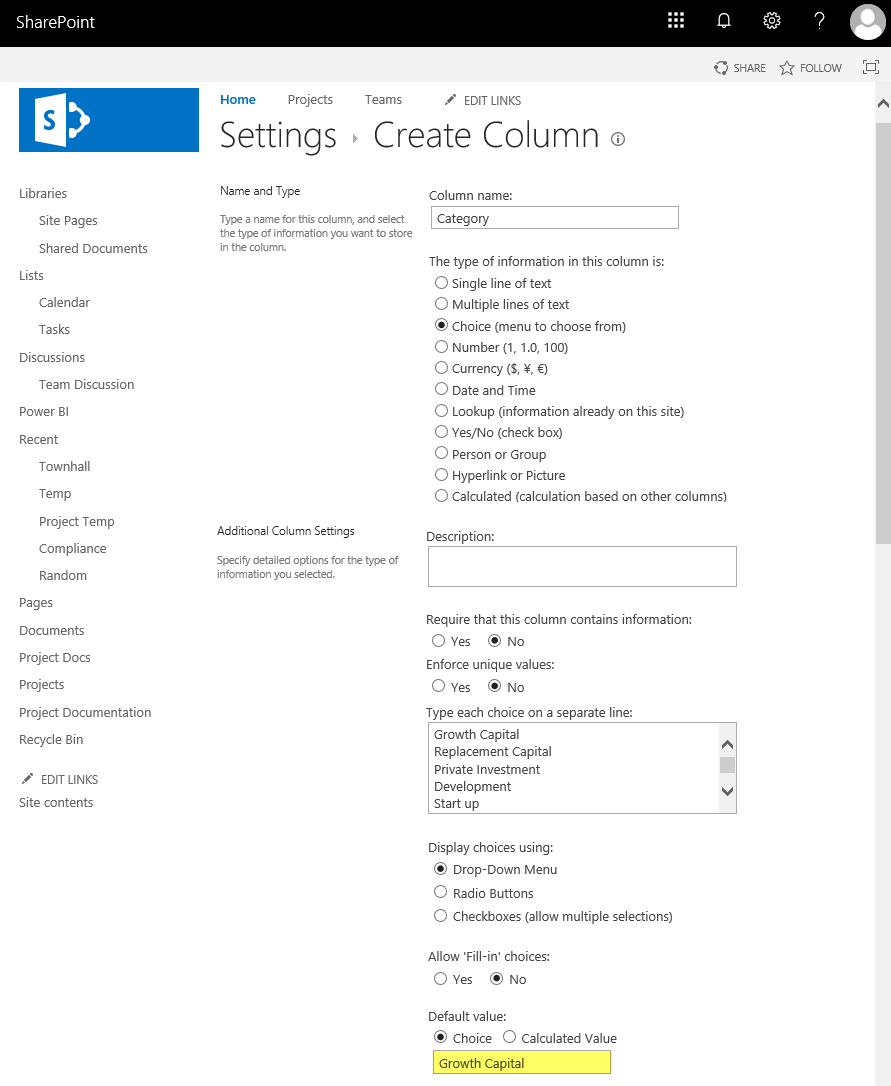 sharepoint choice field default blank