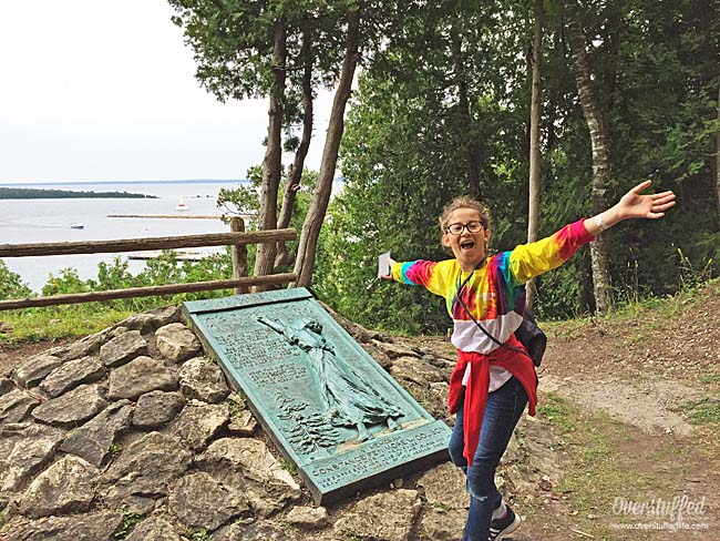 Anne's tablet on Mackinac Island is a sculpture to hike up to with a gorgeous view.