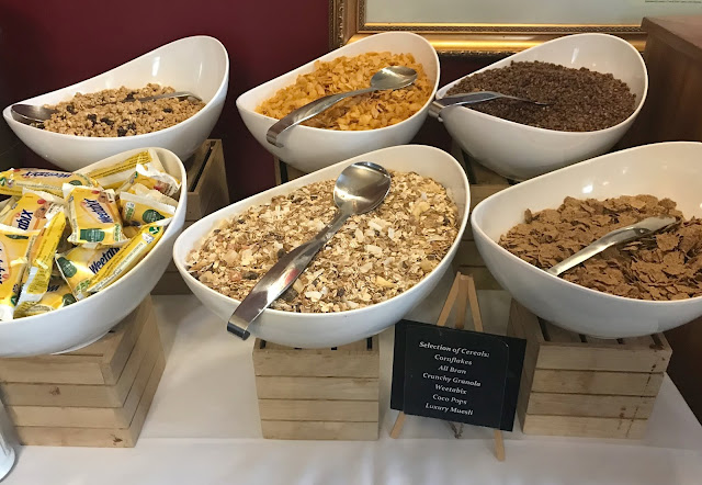 breakfast cereal buffet at linden hall hotel