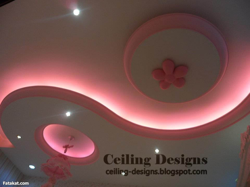 romance false ceiling designs for bedroom from POP with pinky lighting